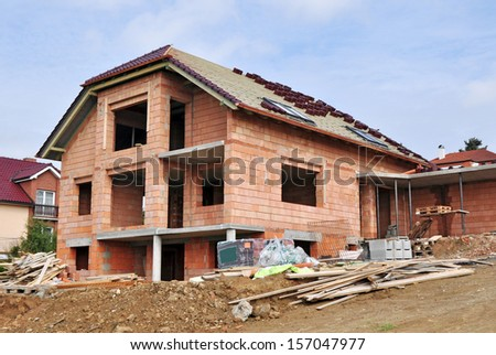 House construction made of bricks - stock photo