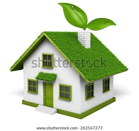 House. 3D. Eco house with plant in chimney - stock photo