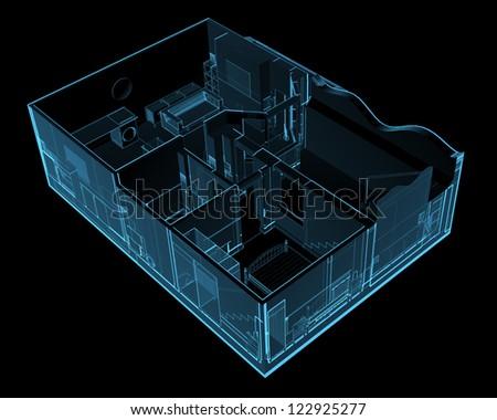 House (3D xray blue transparent) - stock photo