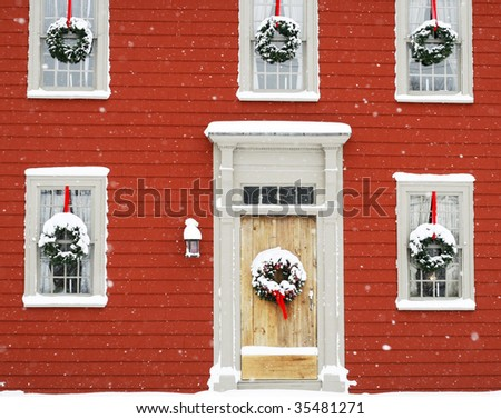 house decorated for holidays - stock photo