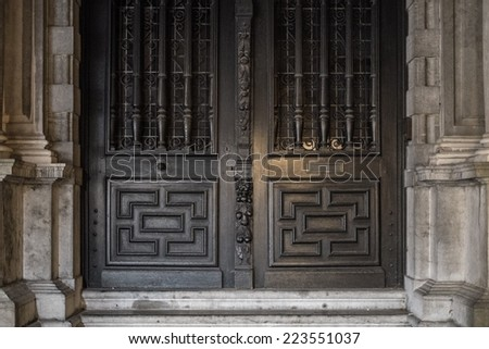 House details on Burg square in Bruges, Belgium  - stock photo