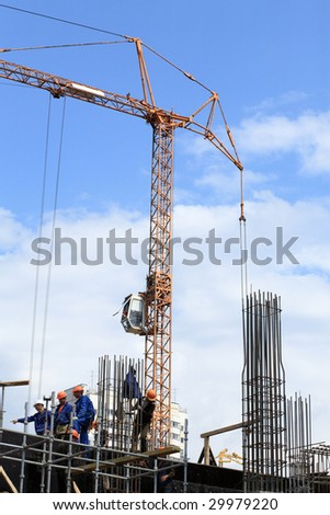 house develop with crane tower - stock photo