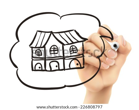 house drawn by 3d hand over white background - stock photo
