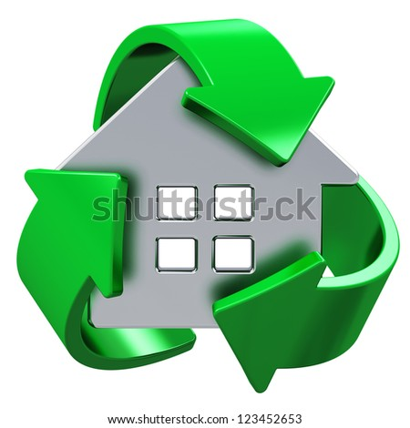 House ecology, home energy efficiency, environmental conservation and nature saving concept: metal house covered by green recycling symbol isolated on white background - stock photo