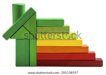 house energy efficiency rating, green home save heat and ecology. Toy blocks isolated white background - stock photo