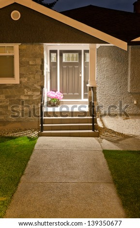 House entrance with long doorway  at night, dawn time. - stock photo