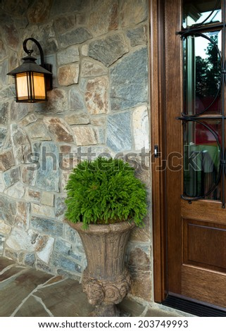 House entry exterior details - stock photo