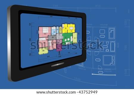 House family plan on monitor. - stock photo