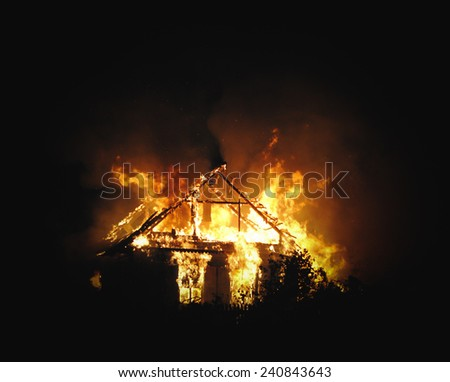 House fire in the night - stock photo