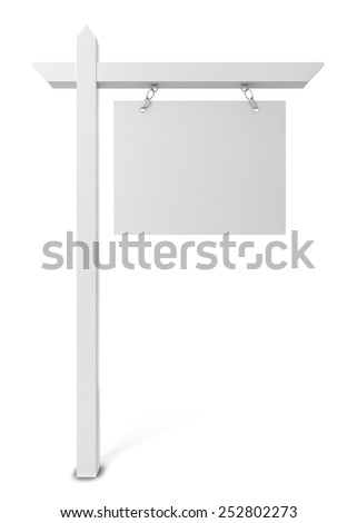 House for sale blank sign. 3d illustration isolated on white background  - stock photo