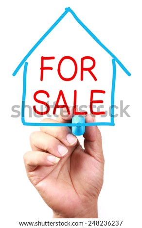 House For Sale concept drawing on transparent whiteboard. - stock photo