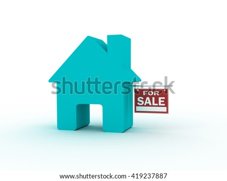 House for sale, 3D rendering - stock photo