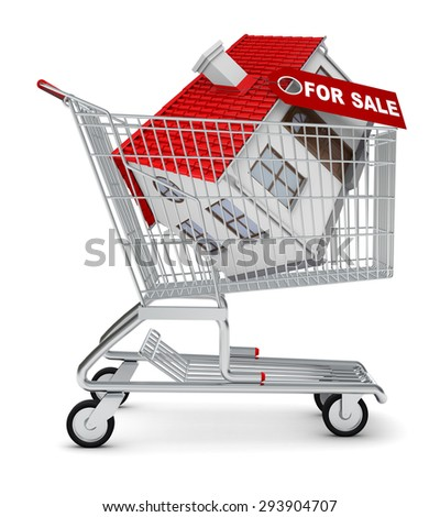 House for sale in shopping cart on isolated white background - stock photo