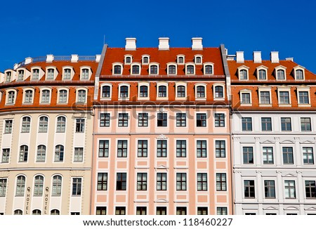 House front in Dresden. A very colorful house front in Dresden in summer time View close to the Frauenkirche. - stock photo