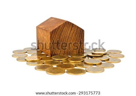 House gold coins isolated on white background. Saving money for buy home concept or build a house. Money coins for loan home. Coin stack thai baht. Front view. Close up. - stock photo