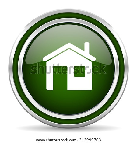 house green glossy web icon modern design with double metallic silver border on white background with shadow for web and mobile app round internet original button for business usage  - stock photo