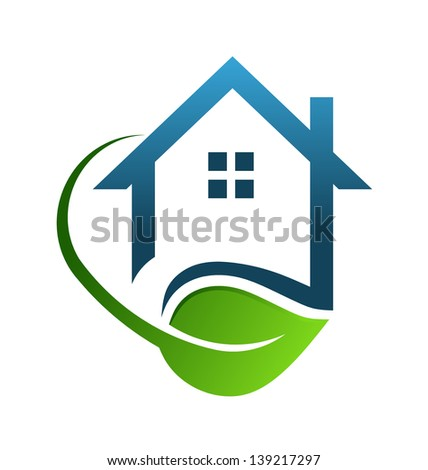 House green sign swoosh - stock photo