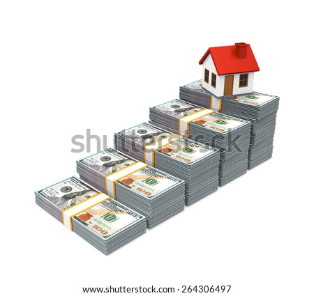 House Icon and Stacks of Dollar Bills - stock photo