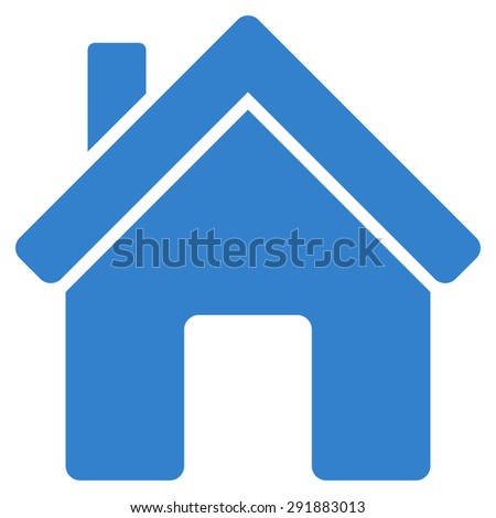 House icon from Commerce Set. Glyph style: flat symbol, cobalt color, rounded angles, white background. - stock photo