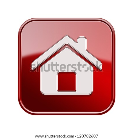 House icon glossy red, isolated on white background - stock photo