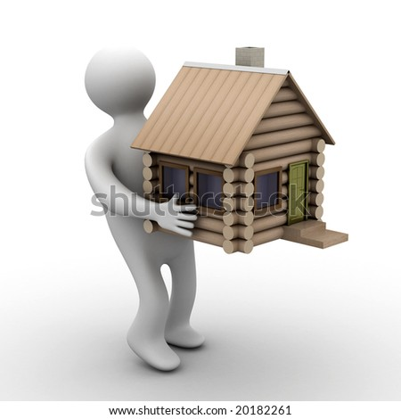 house in a gift. 3D image. isolated illustrations - stock photo