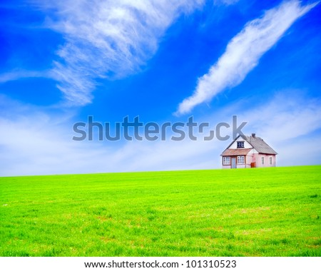 house in field - stock photo