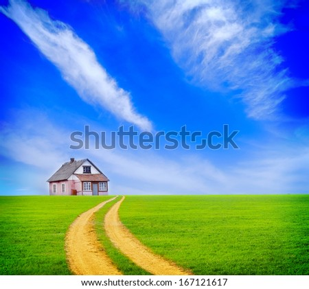 house in green field - stock photo