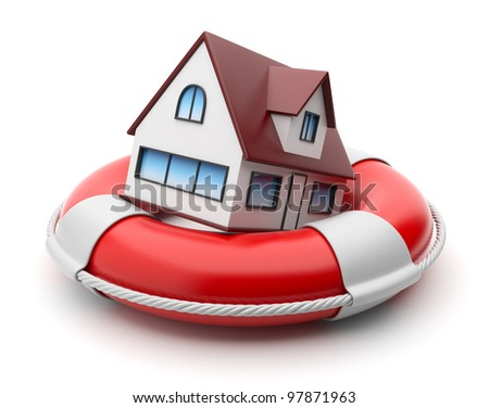 House in lifebuoy. Property insurance concept. Isolated on white background - stock photo
