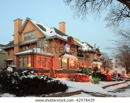 House in Minneapolis with Christmas lights - stock photo