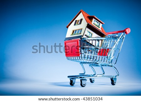 House in shopping cart on a blue background - stock photo