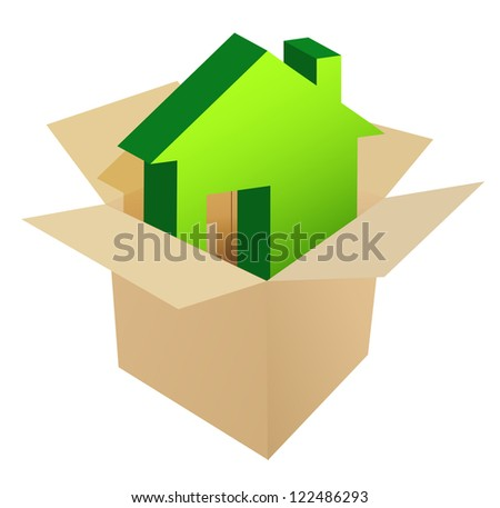 House in the box illustration design over a white background - stock photo