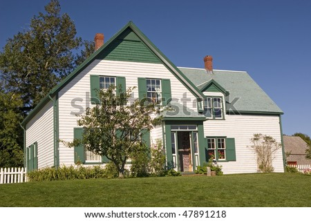 House in the National Park in Cavendish, Prince Edward Island that the author L. M. Montgomery used as a setting for her Anne of Green Gables novel. - stock photo
