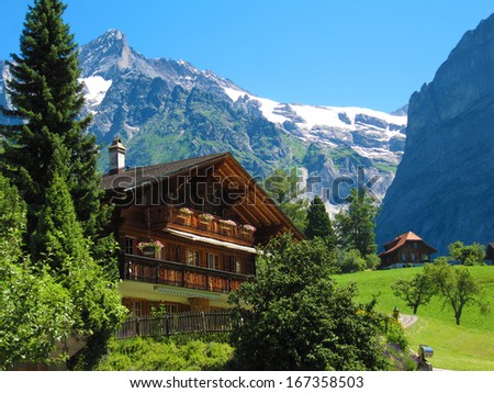 House in the Swiss Alps - stock photo
