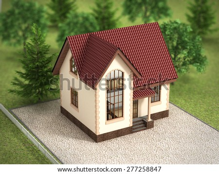House in the trees. - stock photo