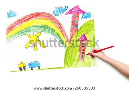 house in the village. child drawing. - stock photo