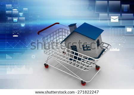 House in trolley - stock photo