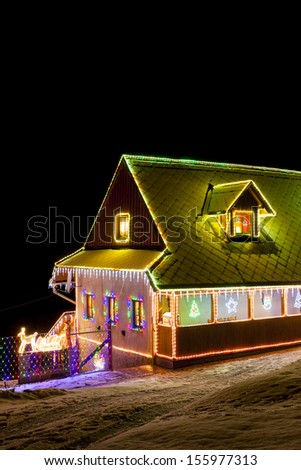 house in winter at Christmas time, Czech Republic - stock photo