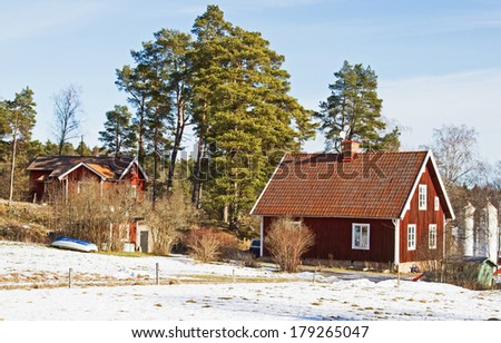 House in wintertime.. Houses and environment in Sweden. - stock photo