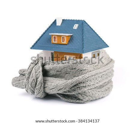 house insulation concept. isolated on white - stock photo