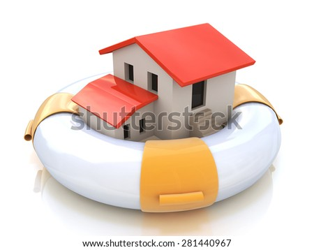 House insurance home owner protection from mortgage interest rates as a home in a lifesaver and real estate financial and structural risk as security from hazards like flooding fire and burglary - stock photo