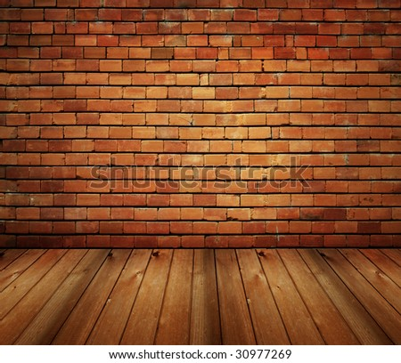house interior brick and wood grunge texture - stock photo