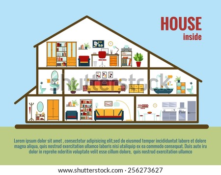 House interior. House plan cross-sectional view room and bath, kitchen. - stock photo