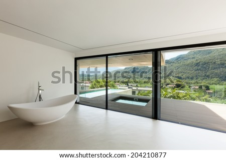 House, interior, modern architecture, bathroom view - stock photo