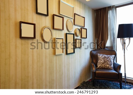 house interior with nice picture frame on the wall - stock photo