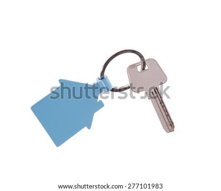 house key isolated on white - stock photo