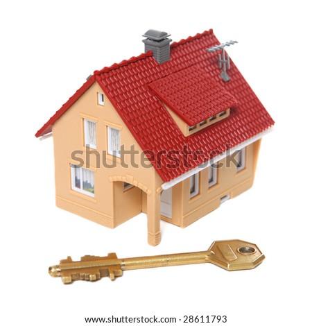 House & key isolated on white - stock photo