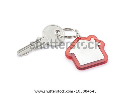 House key with clipping path - stock photo
