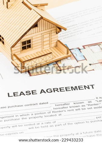 House lease agreement document - stock photo