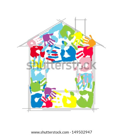 House made from family's handprints. Creative concept. - stock photo
