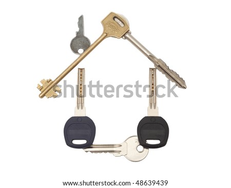House Made From Keys isolated on white - stock photo